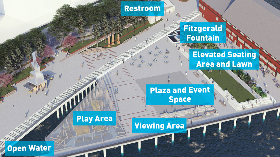 An aerial rendering highlights the new features of Pier 58 design including views of open water, a play area, viewing area, plaza and event space, elevated seating area and lawn, Fitzgerald Fountain and a restroom.