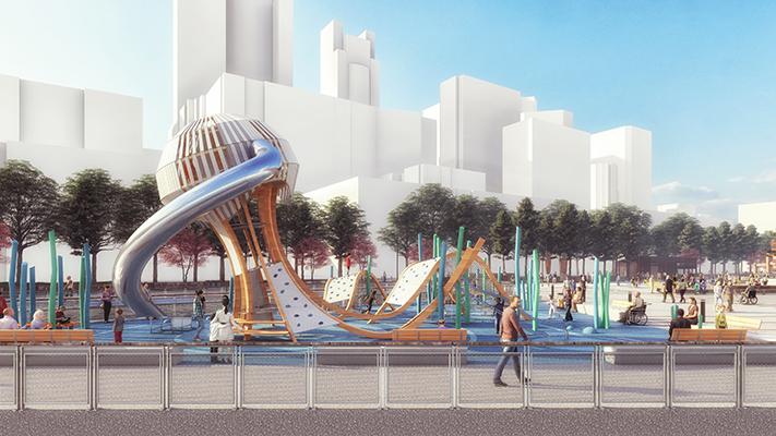 Esta representación muestra el área de juegos infantiles del Muelle 58. La estructura de la medusa de 18 pies de alto. Los niños y los adultos están en el área de juegos infantiles. En el fondo se aprecia el centro de Seattle.