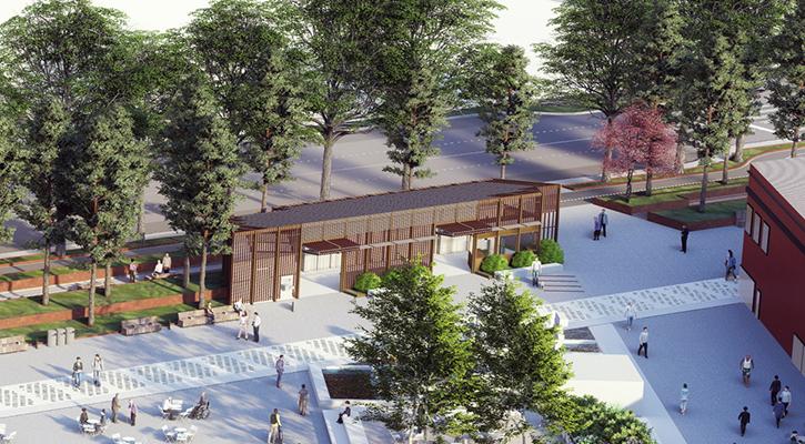 Esta representación muestra una vista aérea del diseño del área de sanitarios. Frente a los sanitarios está la fuente Fitzgerald y el área de la arboleda. Hay personas caminando en el muelle.