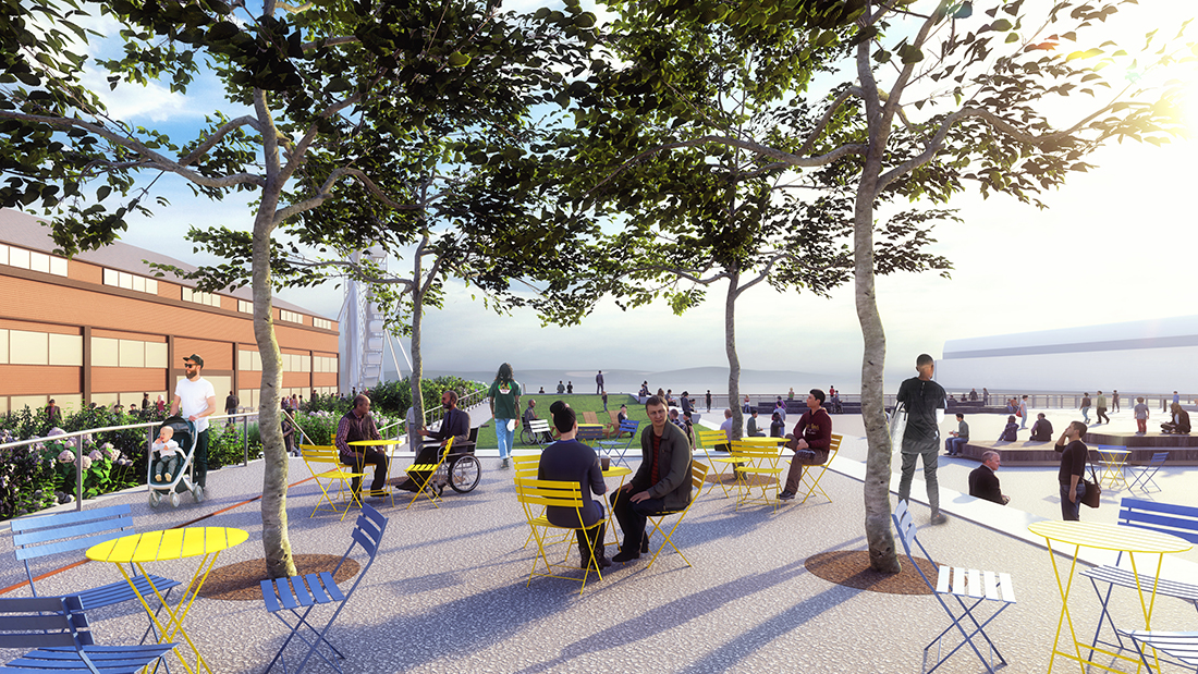 Pier 58 will have seating and tables to use under a semi-shaded tree grove.
