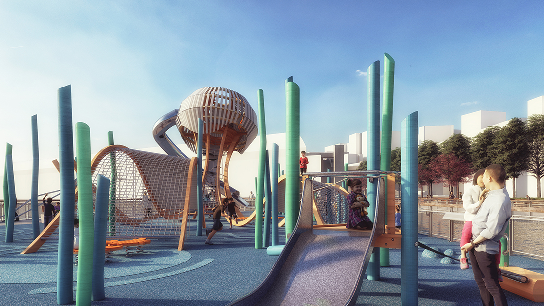The renderings is a close-up of the playground. There are children playing on the slider feature and the climbing features. There is a parent holding their small child in their arms.