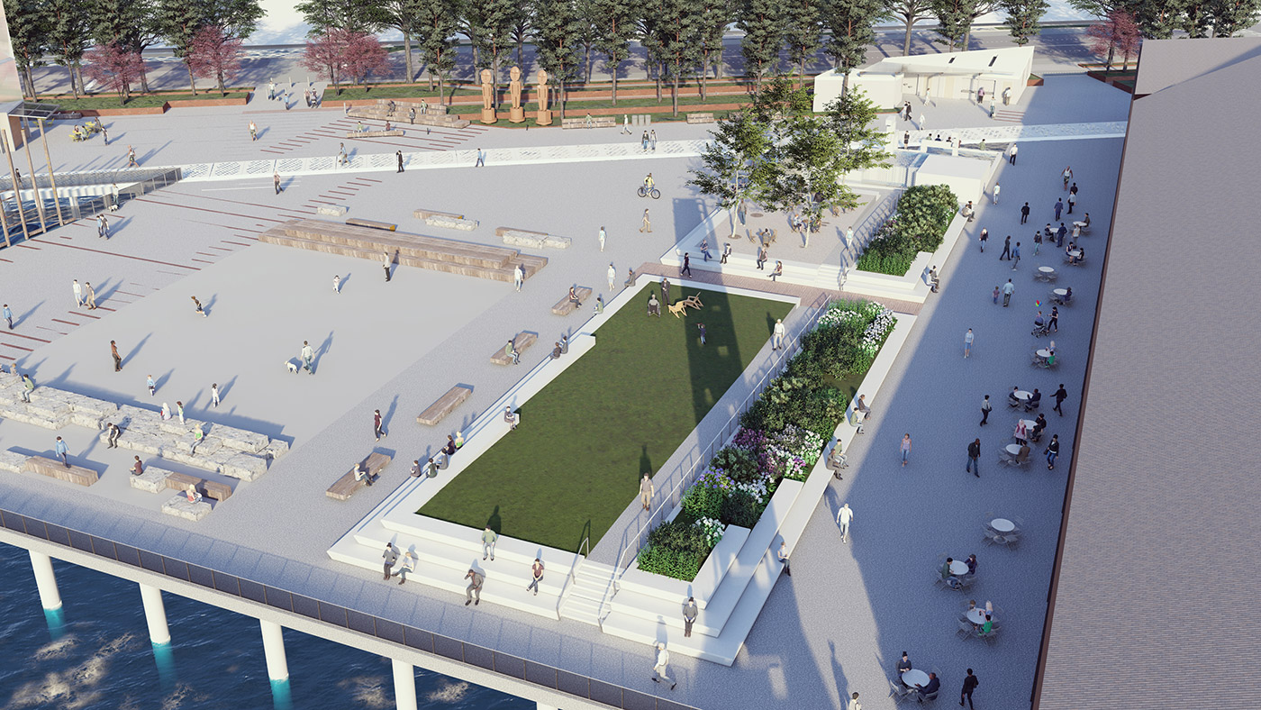 An aerial rendering showing the new elevated lawn area with grassy area and plants. The plaza and event space shows open seating area.